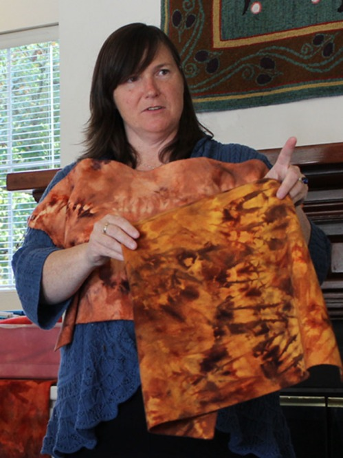 Brigitta Phy shows the shibori dye results