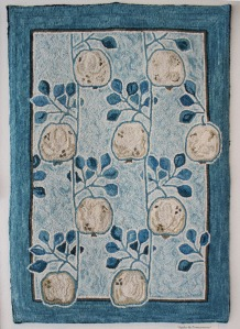 'Apples in Blue' design by Wm Morris hooked by Dana Jones