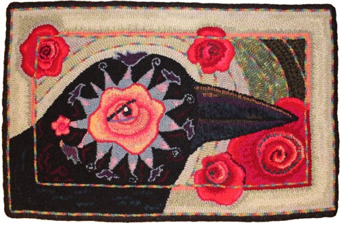Rose Eye Crow designed & hooked by Laura Pierce