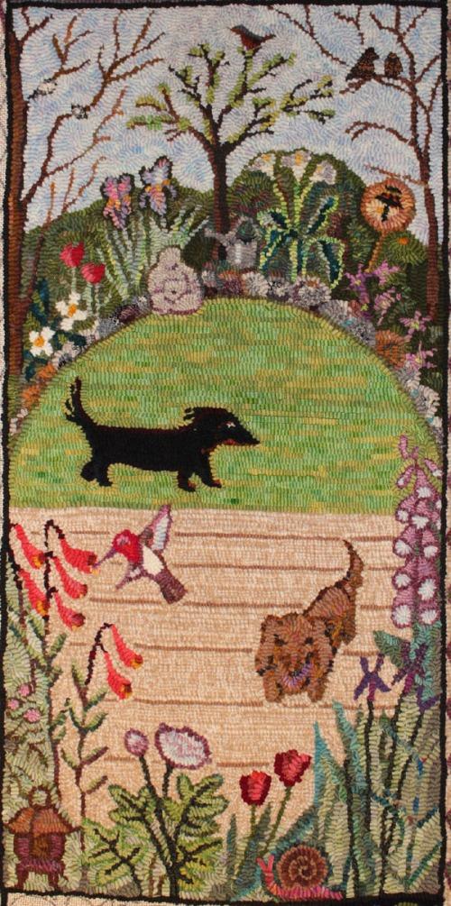 Center panel of Azeri Garden Rug by Laura Pierce