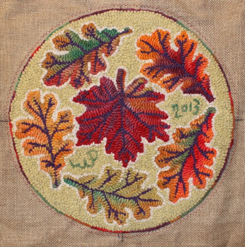 Autumn Leaves with a colour ring by Laura Pierce