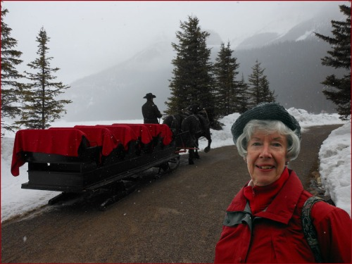 Phyllis and the horsesleigh at Lake Louise - Rockies