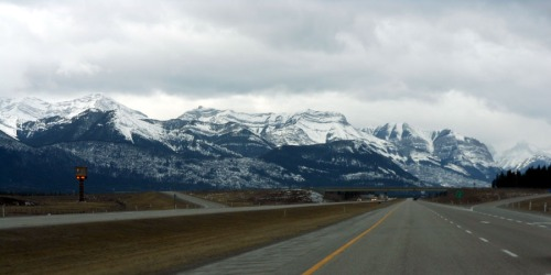 Road from Calgary into the Rockies