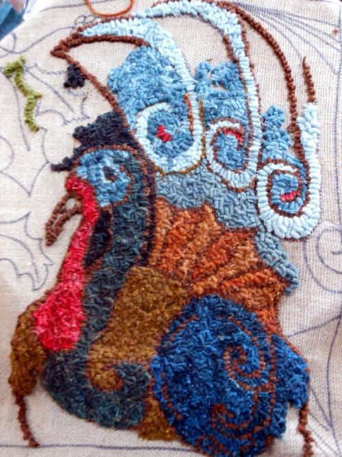 Blue feathered Turkey by Suzanne