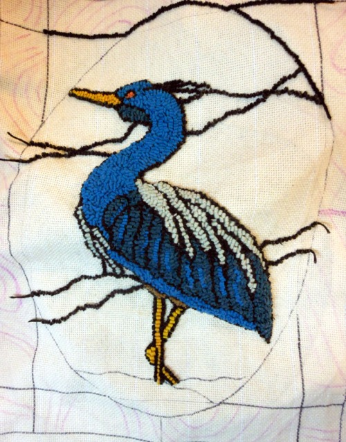 Stain Glass Grey Heron by Barb