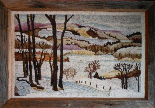 Beautiful Neutral Landscape hooked by Mom Caswell