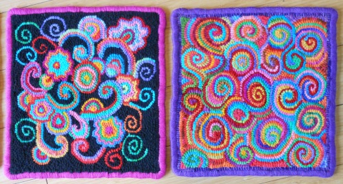 Little square rugs doodle designed & hooked by Cec Caswell
