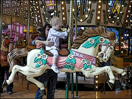 Carousel with baby and mom.