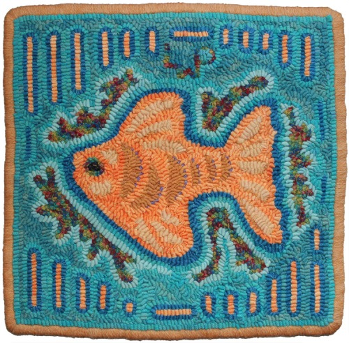Gold Fish Mola design by Cec Caswell hooked by Laura Pierce