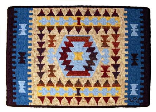 'Tribal Kilim' pattern by Jane Flynn hooked by Laura Pierce