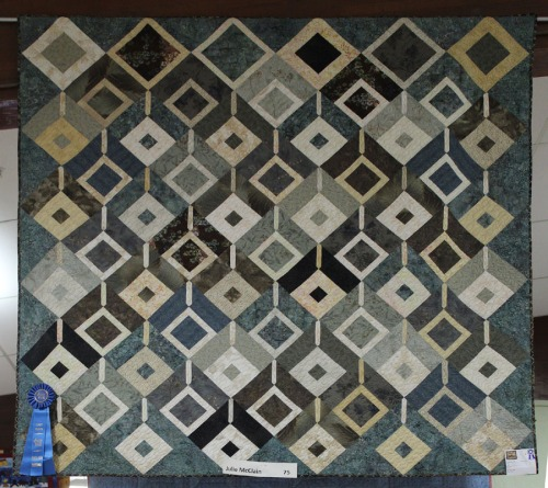 Diamonds in neutral blues Quilt at Sonoma Co Fair