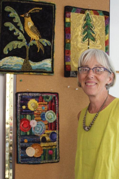 Susan Feller at Hooker Hill Rug Retreat 2013