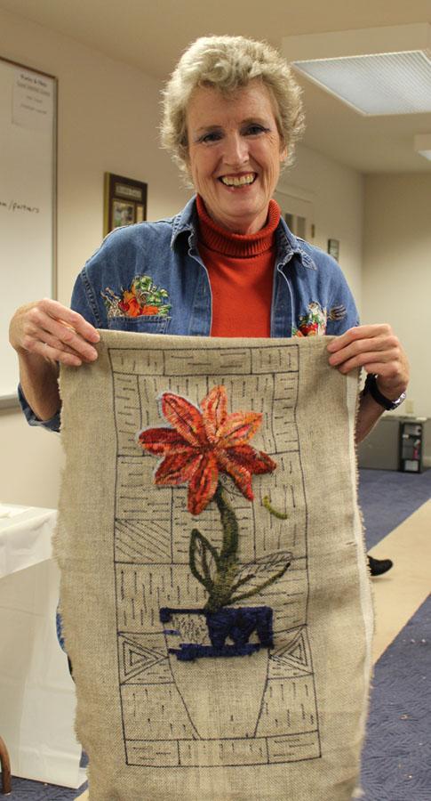 Pat Dalton hooks her own design!