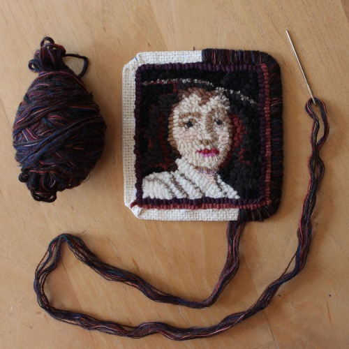 Whipping the edge of a Miniature Portrait by Laura Pierce