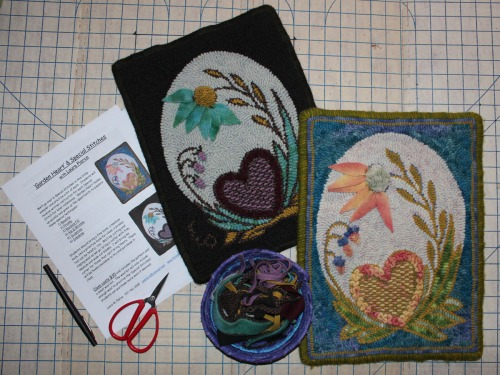 Special Stitches in Garden Heart rugs by Laura Pierce
