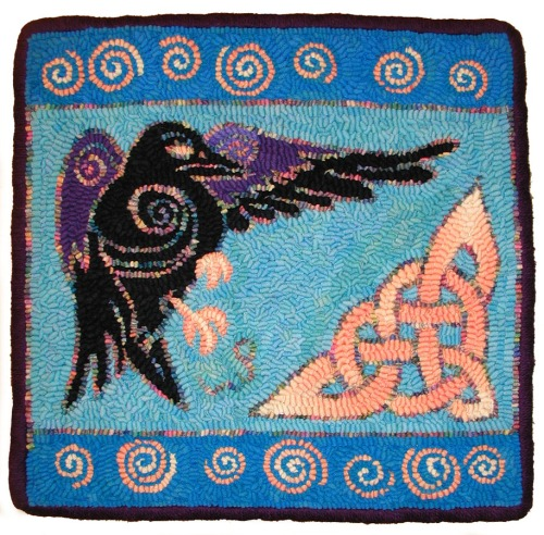 Celtic Crow design by Sequoia hooked by Laura Pierce