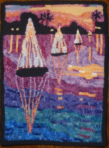 'Harbor Lights' design by Laura Pierce, hooked by Maurine Weishaupl