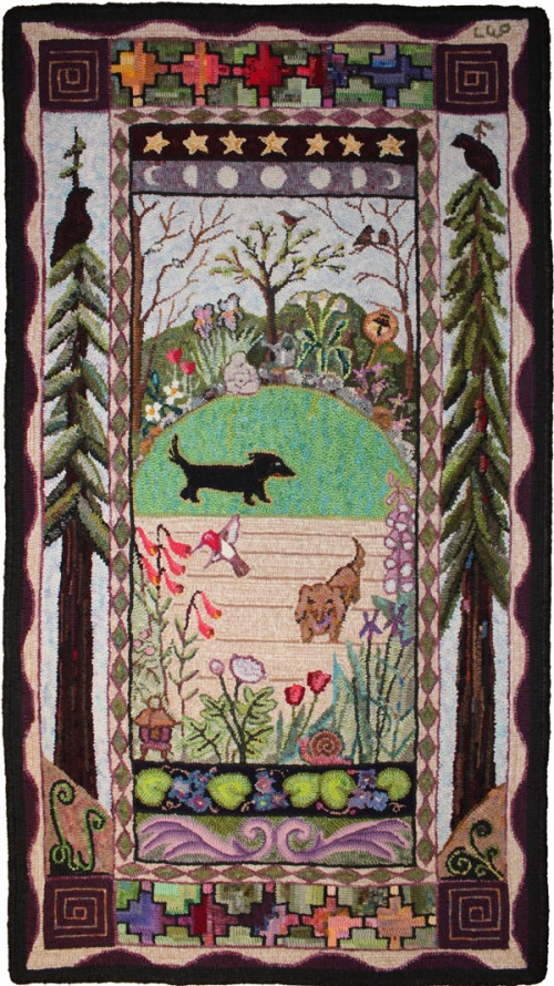 Garden Azeri rug designed & hooked by Laura Pierce