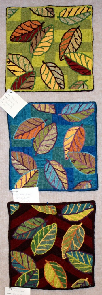 'Modern Leaves' designed and hooked by Brigitta Phy