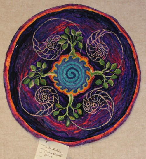 'Water Mandala' designed & hooked by Michele Micarelli