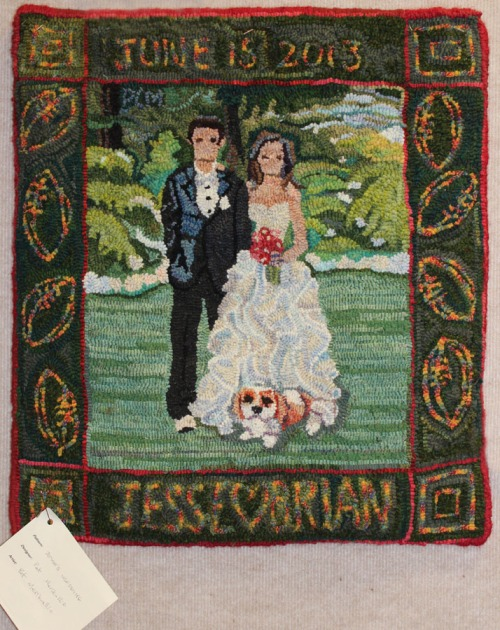 'Jesse's Wedding'  designed and hooked by Pat Merikallio