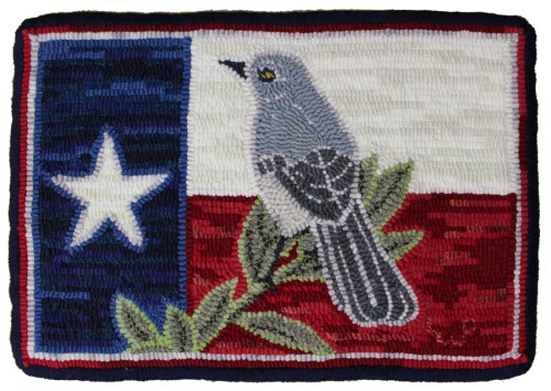 'Mockingbird w/Texas Flag' designed & hooked by Laura Pierce