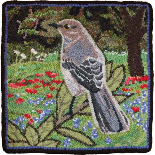 'Texas Mockingbird' designed & hooked by Laura Pierce