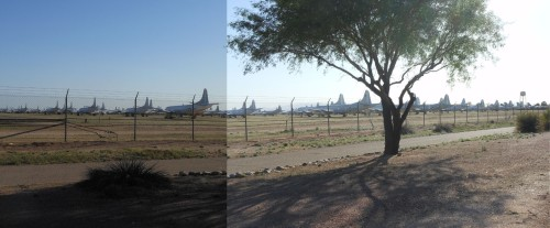 Fields of old military airplanes