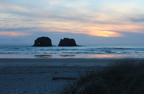 2 rocks of Rockaway Beach, Oregon at sunset!