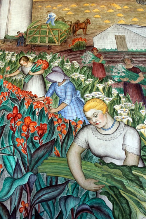 Coit Tower mural of the women harvesting the flowers.