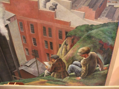 Close-up of Coit Tower Mural from the hill