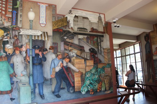 Coit Tower mural; Oarkland ferry
