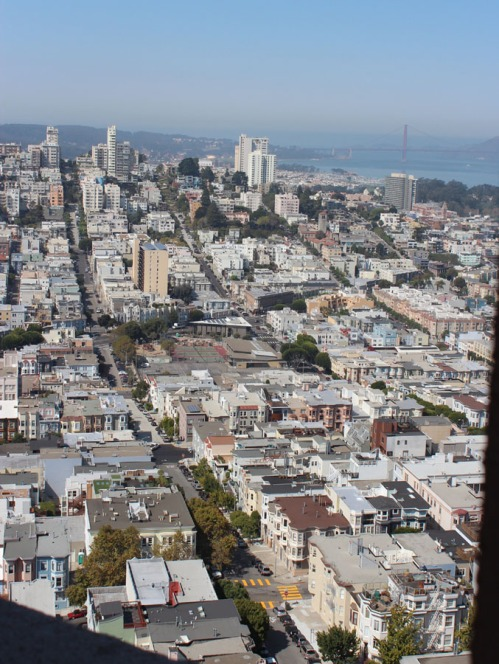 Coit Tower view towards Van Ness and the Golden Gate bridge.