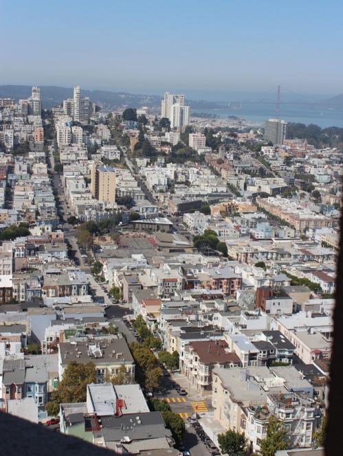 Coit Tower view towards Van Ness and the Golden Gate bridge.