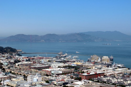 Coit Tower view of the ships in the harbor and Mt Tamalpais in the backround