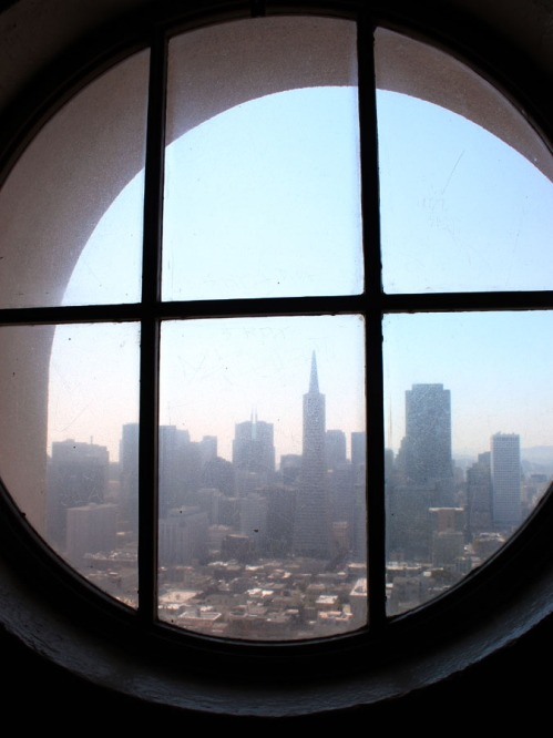 Coit Tower round window view