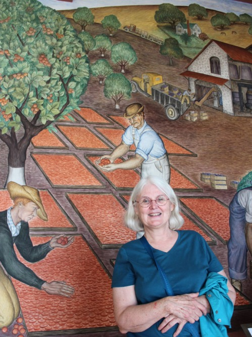 Trish merges with the murals of Coit Tower