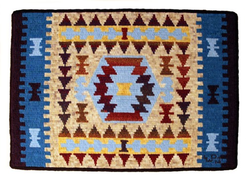 Tribal Kilim design by Jane Flynn hooked by Laura Pierce