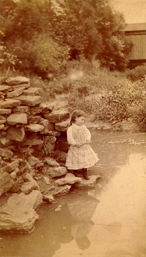 Mabel fishing - Denver 1891 approximately, photographed by Mary Sloan
