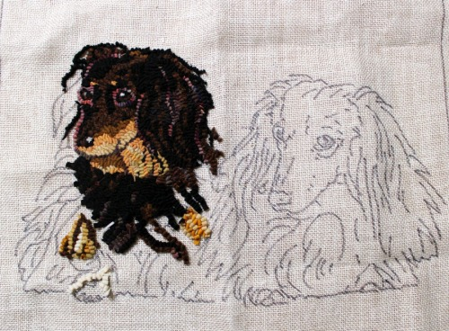 'Rufus and Milo' designed by Laura Pierce and hooking in progress