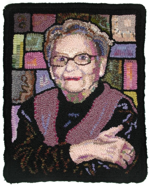 'Emma - Rug Artist' designed and hooked by Laura Pierce