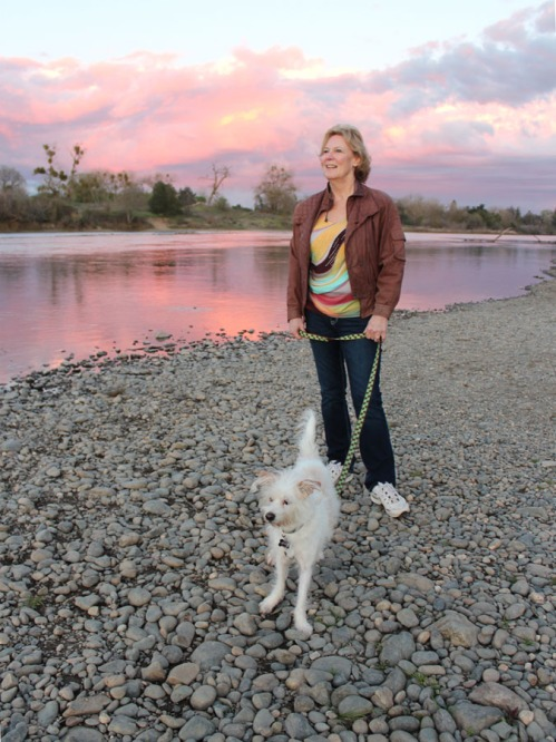 Linda Dwyer Clifford and Skippy at the American River.