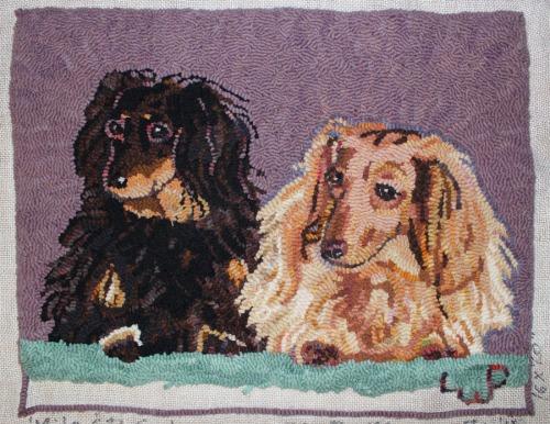 Rufus & Milo hooking by Laura Pierce
