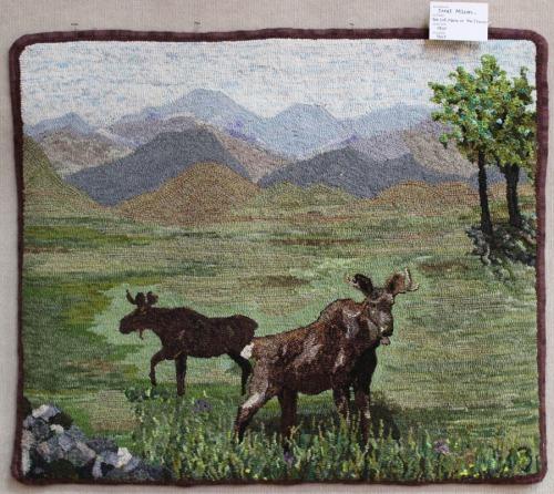 'Lost Moose on the Prairie' hooked by Janet McLean