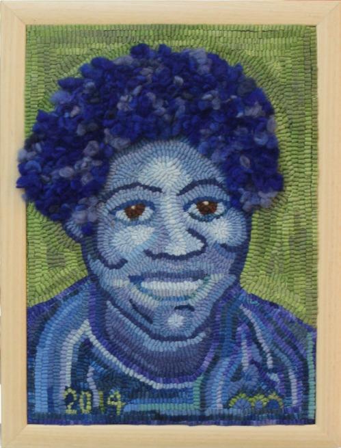 'Mary in Blue' hooked by Malynn Moorhead
