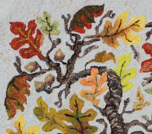detail of Pat Horn's rug, 'Oak Leaf Branch'