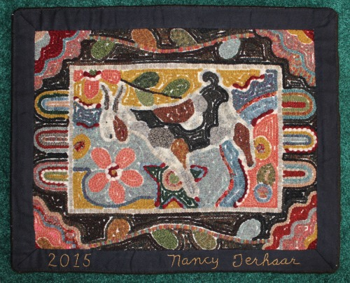'Crazy Goat' signed on the rug tape by Nancy Terhaar