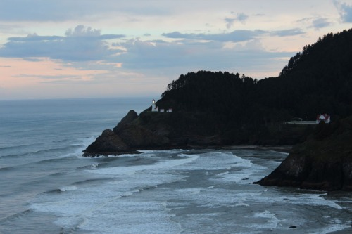 Heceta Head Lighthouse at dawn photo by Laura Pierce