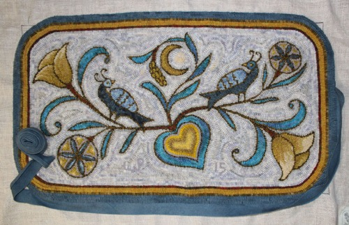 'Fraktur Blessings' with bias wool tape