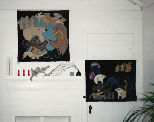 Two Animal Tangles on the wall, hooked by Emma Webber